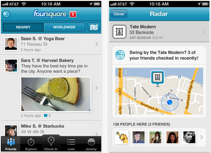 "Foursquare Updated - Adds ""Foursquare Radar"" For iOS 5 Users"