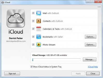 Apple's iCloud Control Panel for Windows Now Live