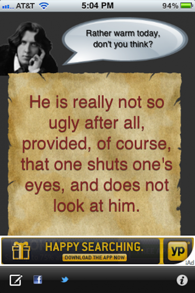 Quirky App Of The Day: Texts From Oscar Wilde