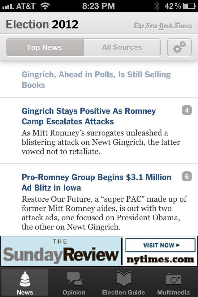 NYTimes Election 2012 App