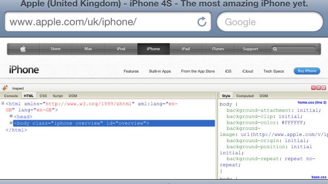Firebug For iOS Bookmarklet: Adds A Firebug Console To iOS