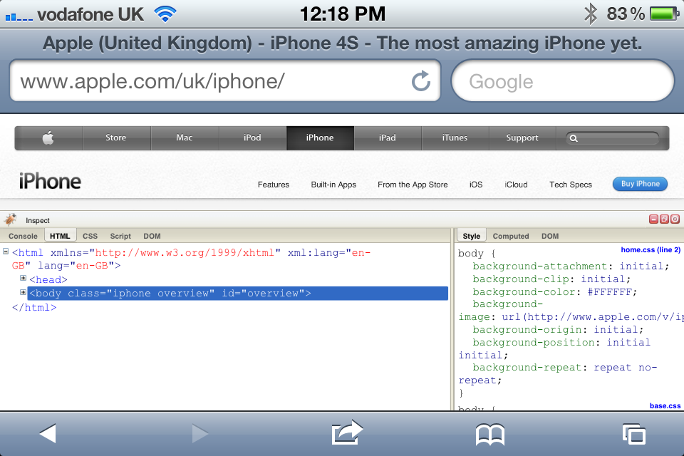 Firebug For iOS Bookmarklet: Adds A Firebug Console To iOS