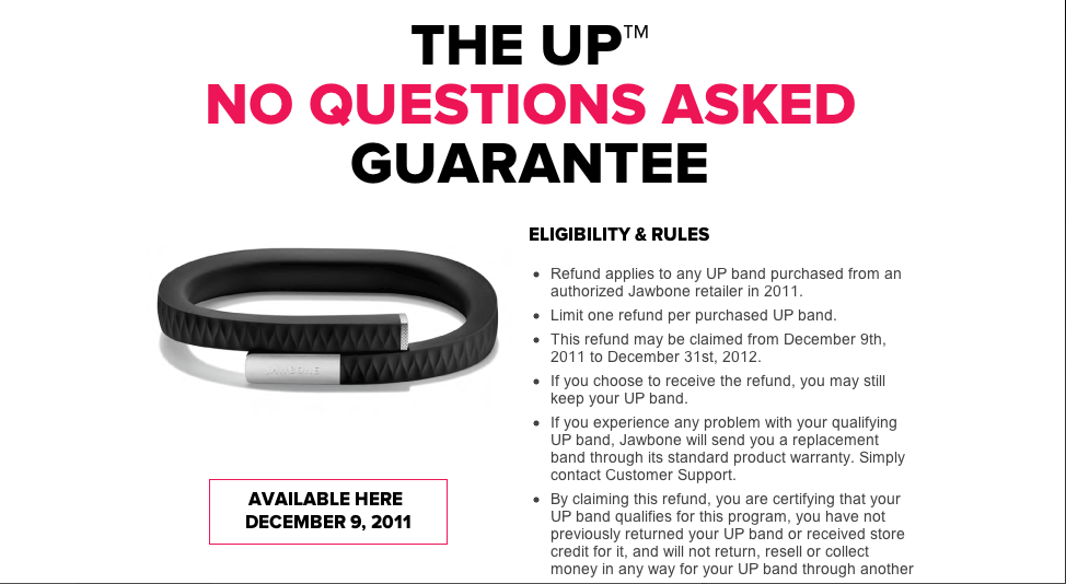 Amid Hardware Failures Jawbone Announces UP Users Can Get Their Money Back And Keep The Bracelet