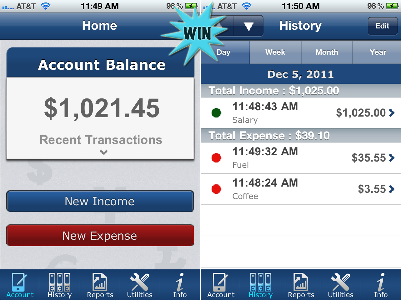 A Chance To Win Easy Spending Expense Tracker For iPhone