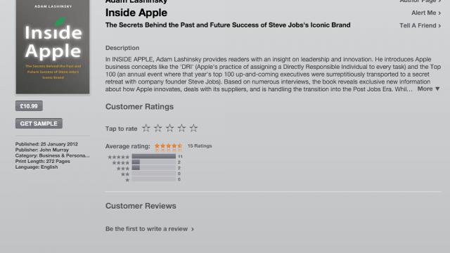 Adam Lashinsky's Inside Apple Hits The iBookstore, Kindle Edition Available Too