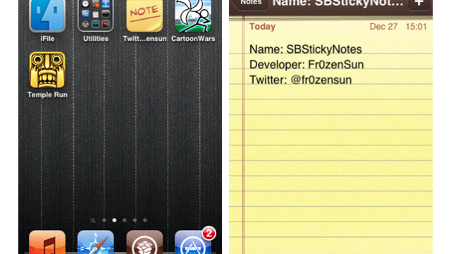 Jailbreak Only: SBStickyNotes - Add Sticky Notes To Your iPhone's SpringBoard