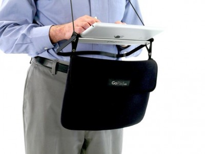 "GoPad ""Solves"" Tablet Portability With Bulky Metal Frame, Suspenders"