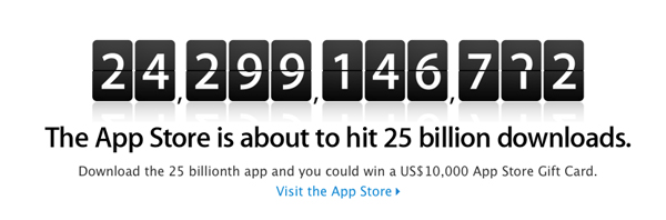Win A $10,000 App Store Gift Card For Downloading 25 Billionth App