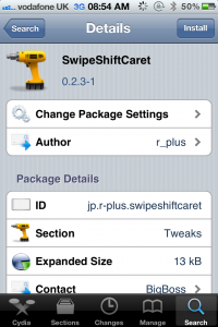 Jailbreak Only: SwipeShiftCaret - Swipe To Move Your Cursor A Single Space