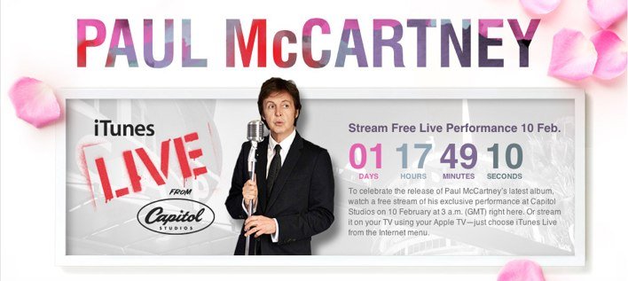 Apple To Stream Paul McCartney Concert To iTunes, Apple TV
