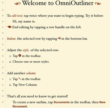 OmniOutliner Gets Updated To Version 1.2