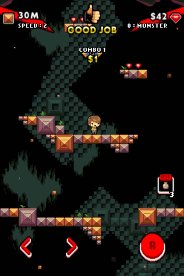 Help Tobe Escape The Crumbling Cave In This Endless Vertical Platformer