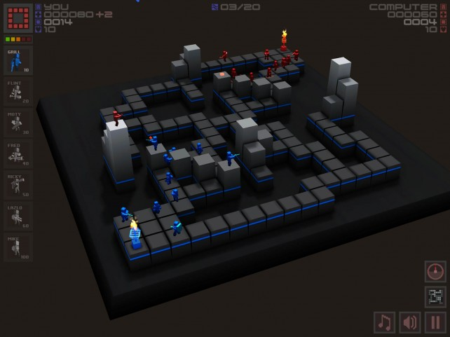 Destroy The Enemy Color In Cubemen, An Action-Oriented TD/RTS Hybrid
