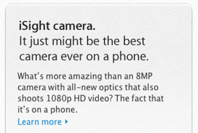 Rear iPhone Camera Now Called iSight