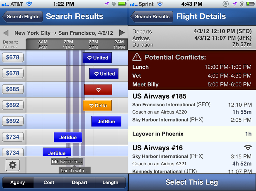 The Hipmunk Flight And Hotel Search Mobile App Now Features Calendar Integration