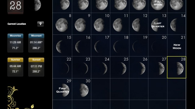 Rivolu Enhances And Expands The iPad User Interface Of Moon Calendar