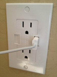 Newer Technology Power2U AC/USB Wall Outlet - In Use