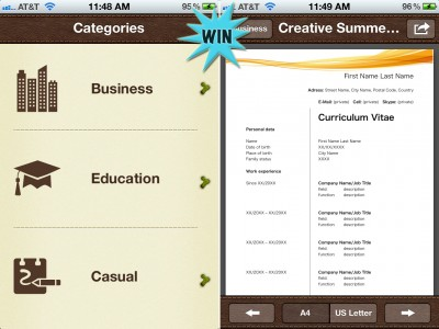 A Chance To Win Templates For Pages Pro For iPhone And iPad