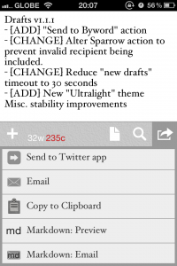 Drafts For iPhone Takes Note Of Byword And Sparrow Integration