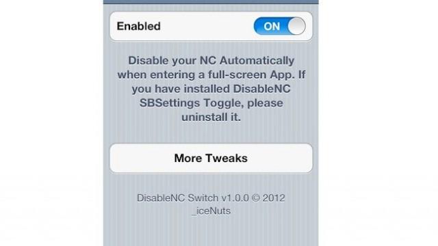 Jailbreak Only: DisableNC Switch - Disable Notification Center For Full-Screen Apps