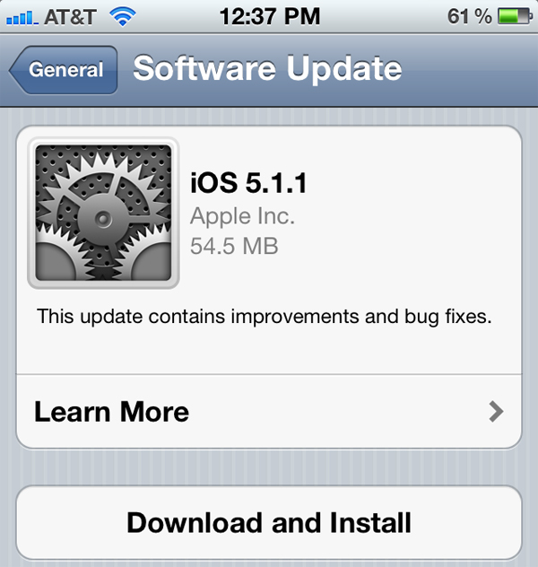 Apple Releases iOS Version 5.1.1