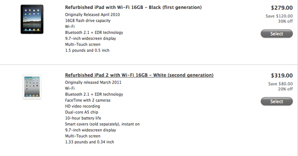Apple Cuts Prices On Refurbished iPad 2, Original iPad