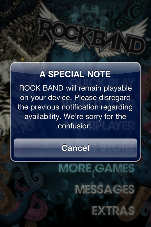 Fan Outrage Apparently Saves Rock Band iOS App