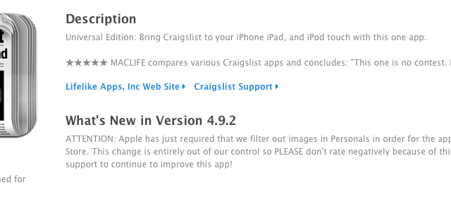 Apple Requiring Censorship Of Personals Section In All Craigslist Apps