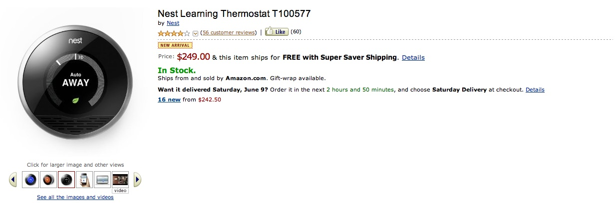 Amazon Now Selling Nest Thermostat