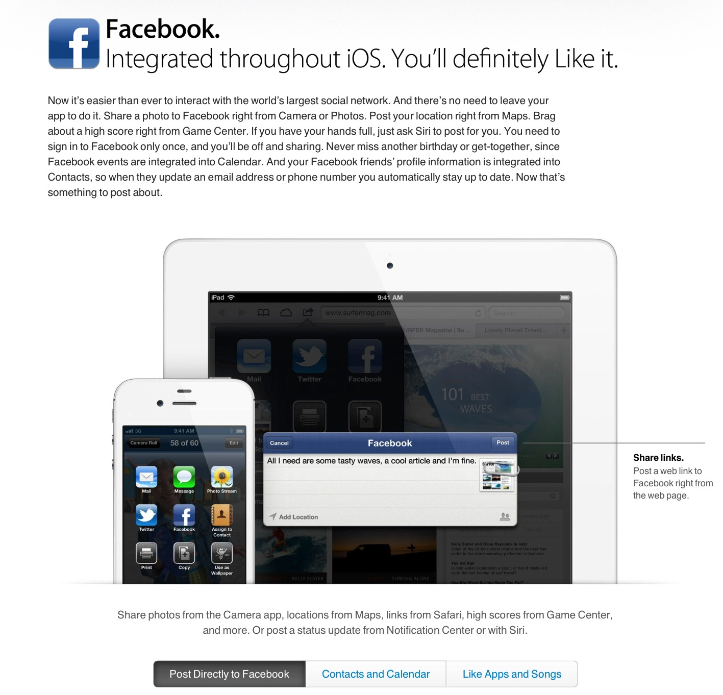 Facebook Gets Integrated Into iOS 6