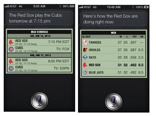 Siri on iOS 6: Play ball!