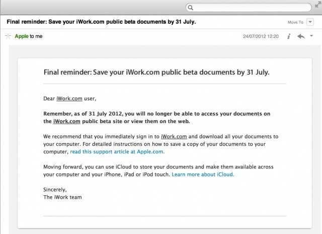 Apple Issues Final Reminder: Save Your iWork.com Documents Now, Before It's Too Late