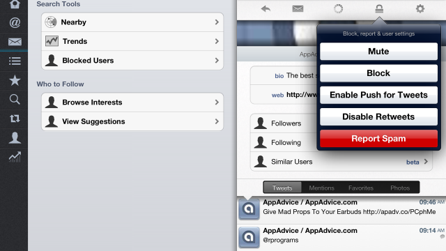 Tweetings 'Retweets' Official Twitter Client's Selective Push Notification Feature