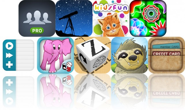 Today's Apps Gone Free: My Contacts Backup Pro, StarTracker For iPhone 4S, Kids Fun And More