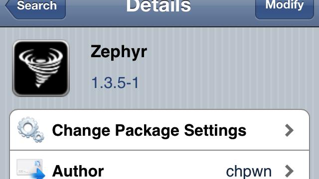 Zephyr Jailbreak Tweak Updated With Notification Center-Style Grabbers