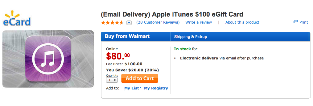 Big Deal! No, Really: Get A $100 iTunes eGift Card For Only $80
