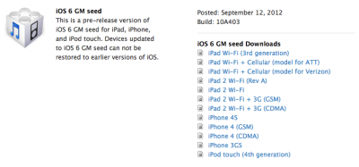 The Golden Master Release Of iOS 6 Is Available Now
