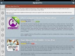 AppsGoneFree version 2.0.1 (iPad 2) - Main