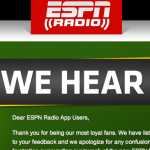 ESPN Offering Angry Radio App Customers Full Refunds