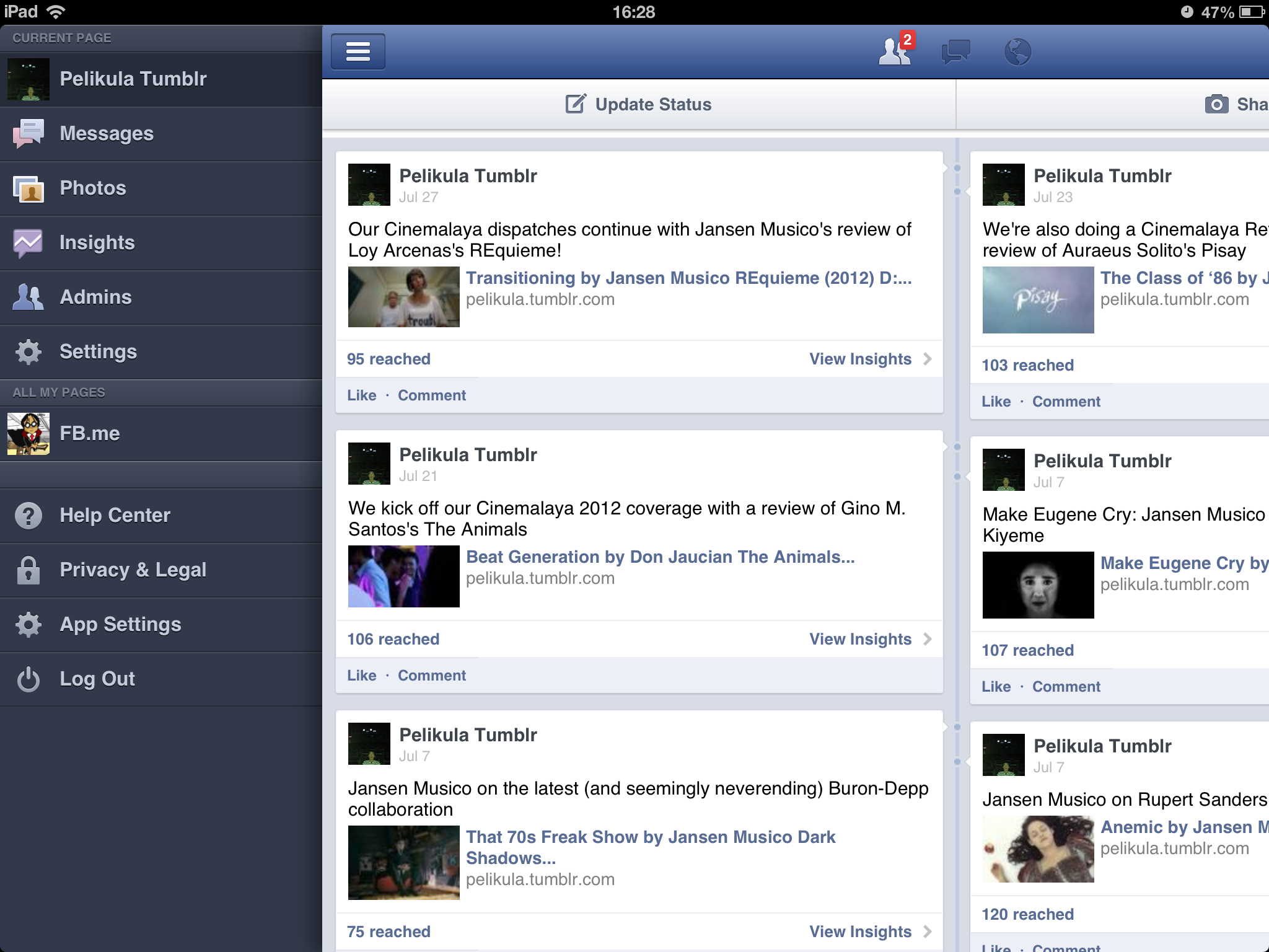 Facebook Pages Manager Gains iPad Landscape Support