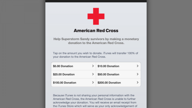 Apple Lets You Easily Donate To Charity To Aid Superstorm Sandy Relief