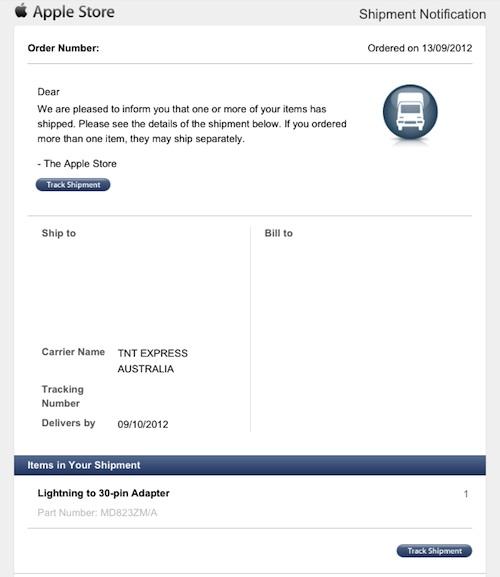 Lightning Adapters Shipping