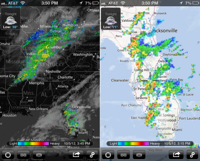 MyRadar Weather Radar Gains New Map Data And iPhone 5 Support