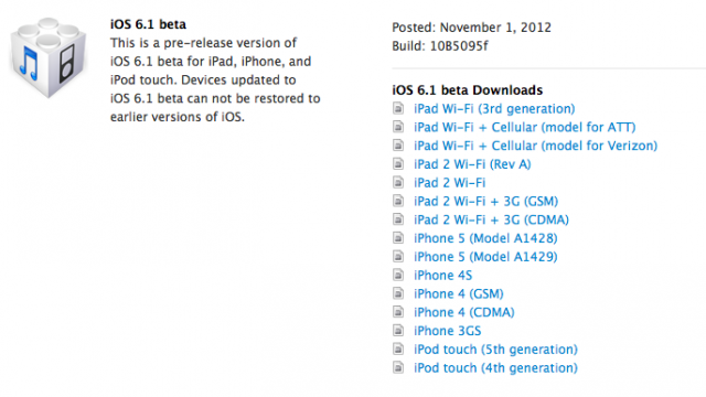 Apple Seeds iOS 6.1 To Developers