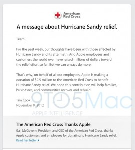 Apple Donating $2.5 Million For Sandy Disaster Relief