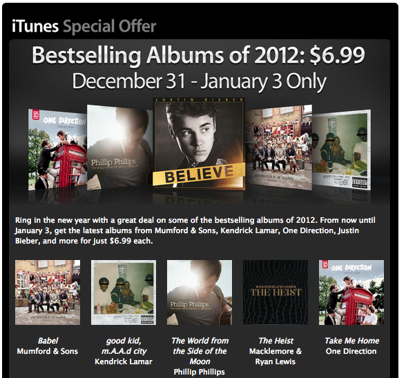 Apple Offering Huge Discounts On Some Of The Year's Most Popular Albums