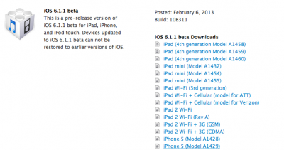 Apple Seeds iOS 6.1.1 Beta To Developers