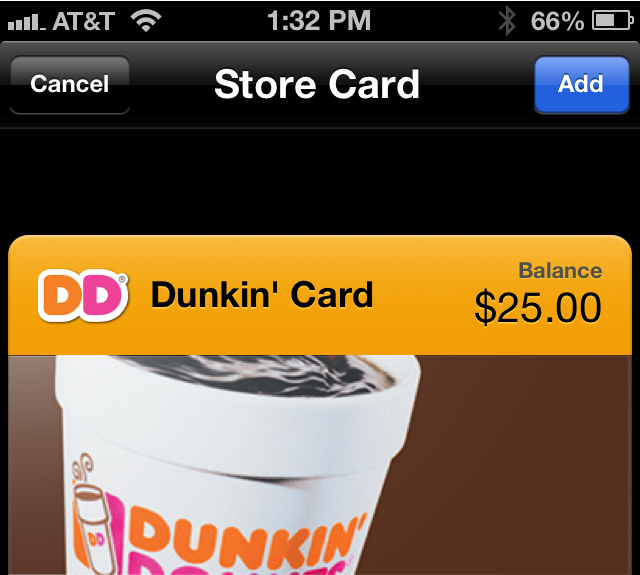 Dunkin' Donuts App Now Accepting Passbook Payments
