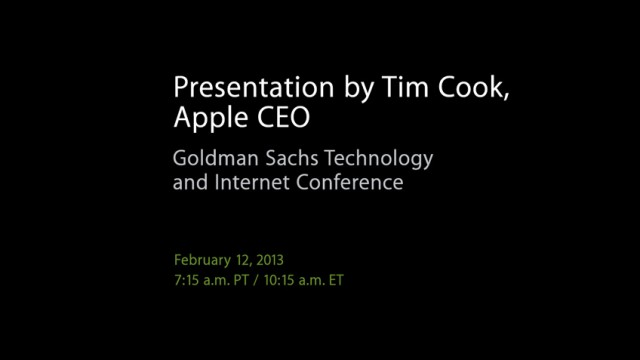Listen To Tim Cook's Goldman Sachs Presentation Here