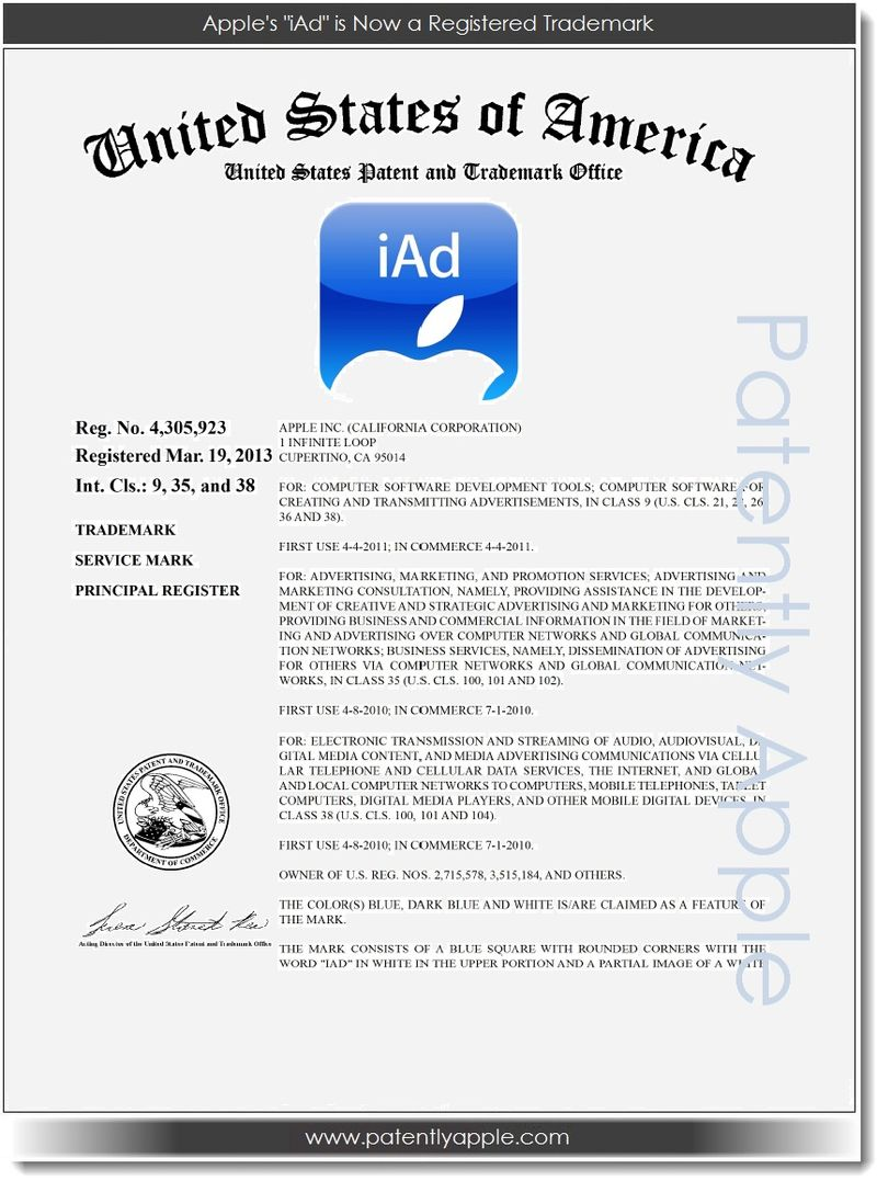 Apple Now Owns The Registered Trademark For 'iAd'